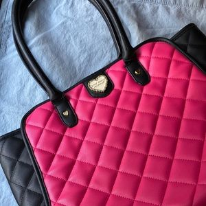 Betsey Johnson Hot Pink Quilted Winged Tote EUC